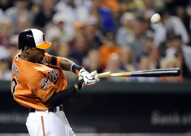 Baltimore Orioles' Adam Jones (10) breaks his bat as he pops out during the third inning of a baseball game against the New York Yankees, Saturday, Sept. 8, 2012, in Baltimore. (AP Photo/Nick Wass)