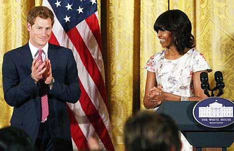 "Prince Harry Meets Michelle Obama, Says Princess Diana ""Would Be Proud"""