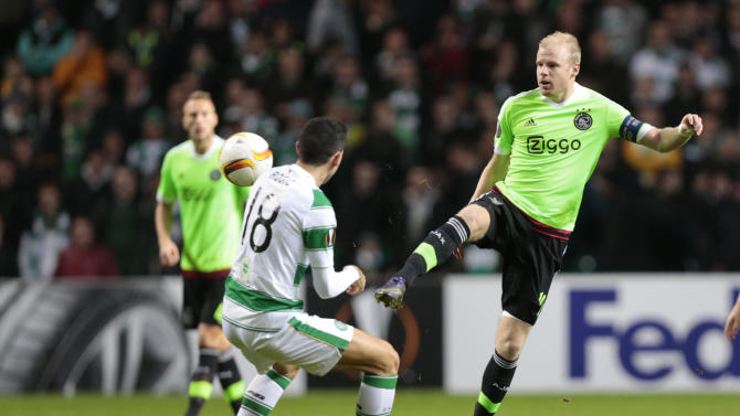 Ajax's Davy Klaassen in action with Celtic's Tomas Rogic