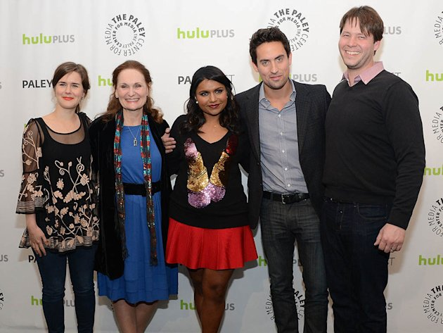"Zoe Jarman, Beth Grant, Mindy Kaling, Ed Weeks and Ike Barinholtz attend the 30th Annual PaleyFest featuring the cast of ""The Mindy Project"" at the Saban Theatre on March 8, 2013 in Beverly Hills, California."