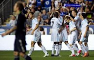 Chelsea's John Terry (2nd R) celebrates with his teammates after scoring a goal during their exhibition game against the MLS All-Stars in Pennsylvania on July 25. The MLS scored two goals in the final 20 minutes of the game at PPL Park -- the home of the Philadelphia Union