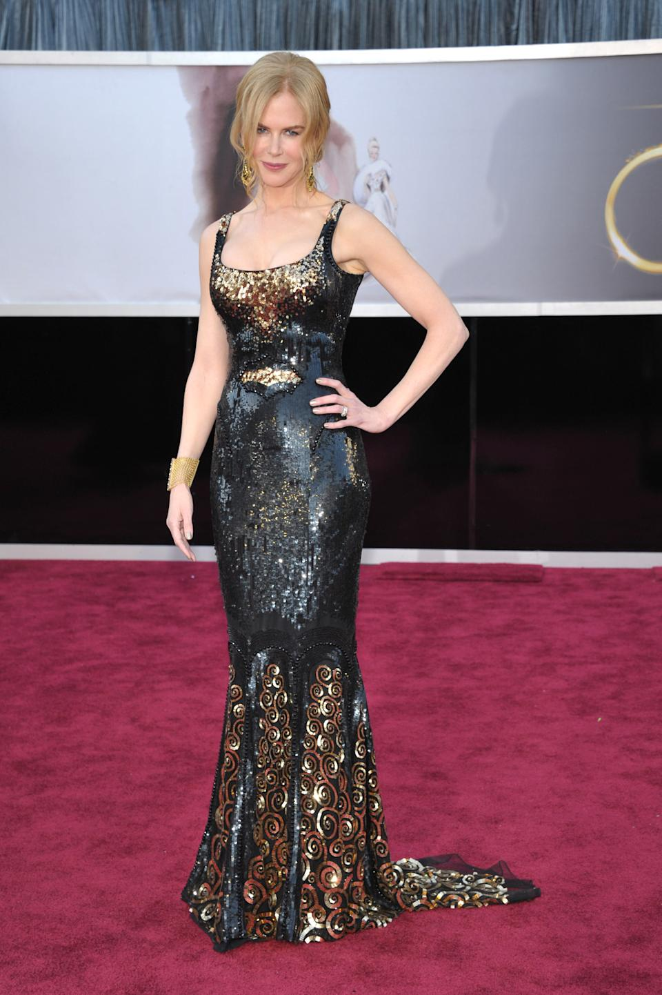 Actress Nicole Kidman arrives at the Oscars at the Dolby Theatre on Sunday Feb. 24, 2013, in Los Angeles. (Photo by John Shearer/Invision/AP)