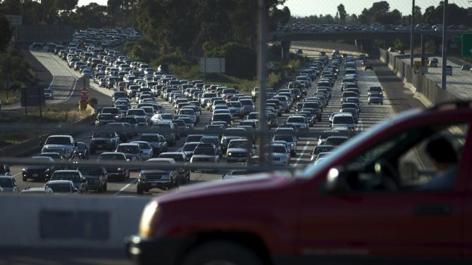 Traffic backs-up going south into Mexico in the border town of San Ysidro, California