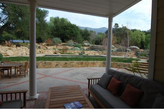 John Krasinski and Emily Blunt's new Ojai home terraced yard