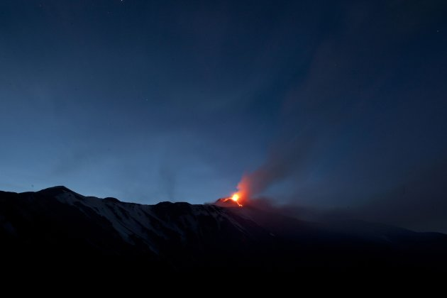 Italy's volcanic Mount Etna spews lava during an eruption on the southern Italian island of Sicily
