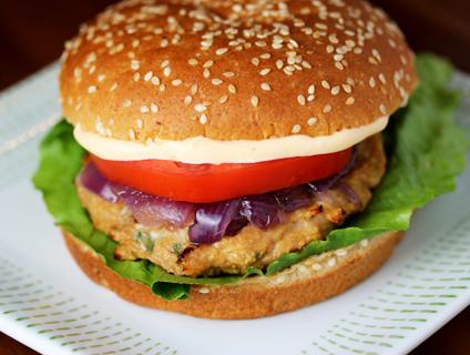 Asian Chicken Burger with Sriracha Mayonnaise