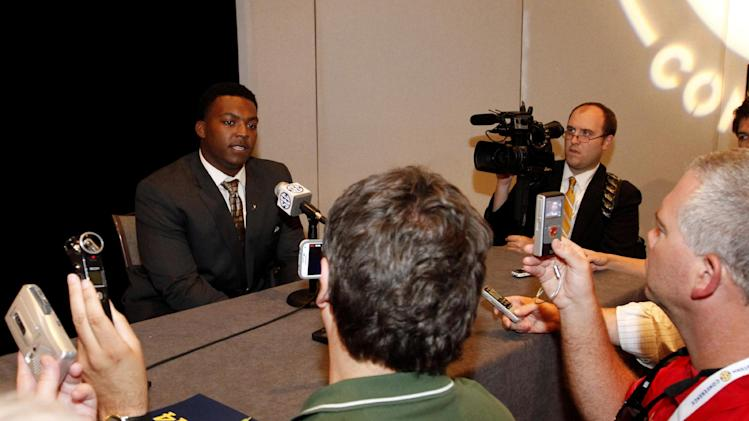 Vanderbilt defensive lineman Adam Butler speaks to media at SEC media days on Monday, July 14, 2014, in Hoover, Ala