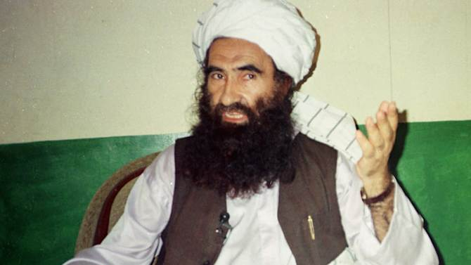 FILE- In this Aug. 22, 1998, file photo, Jalaluddin Haqqani, founder of the militant group the Haqqani network, speaks during an interview in Miram Shah, Pakistan. The Obama administration faces a weekend deadline to decide whether the Pakistan-based Haqqani network should be declared a terrorist organization, a complicated political decision as the U.S. withdraws from Afghanistan and pushes for a reconciliation pact to end more than a decade of warfare. (AP Photo/Mohammed Riaz, File)