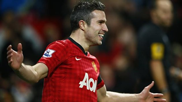 Manchester United&#39;s Robin van Persie celebrates his goal against West Ham United during their English Premier League match at Old Trafford in Manchester