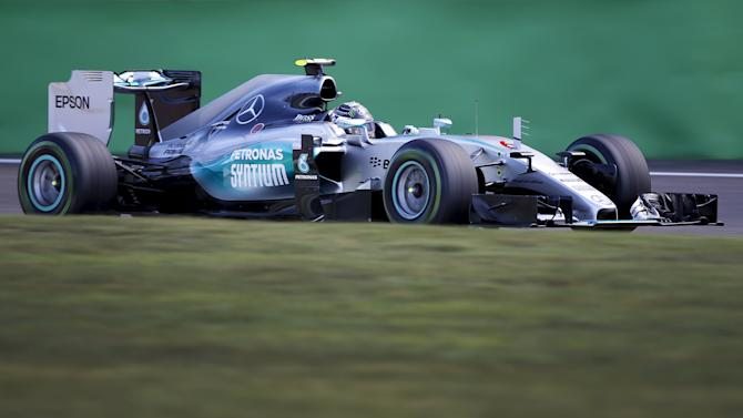 Mercedes Formula One driver Rosberg of Germany drivers his car during the third free practice session for the Italian F1 Grand Prix in Monza