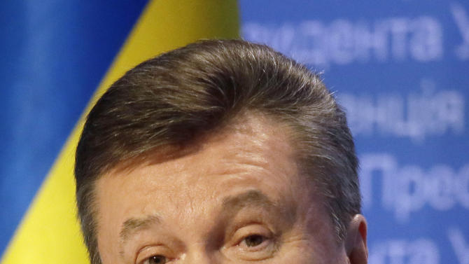 Ukrainian President Viktor Yanukovych speaks during a press conference in Kiev, Ukraine, Friday,March, 1, 2013. Yanukovych has hinted that he may free from prison an opposition leader Yuri Lutsenko. Yanukovych spoke days after European Union gave Kiev until May to demonstrate its commitment to democracy and solved the cases of Tymoshenko and  former Ukrainian Interior Minister Yuri Lutsenko. (AP Photo/Efrem Lukatsky)