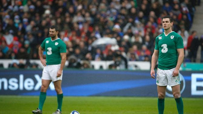 Jonathan Sexton (right) kicked three first half penalties for Ireland against France at the Stade de France