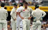 Australian bowler James Pattinson (C) reacts during an LBW appeal against South African batsman Graeme Smith (3rd-L), which was later successful, during their first cricket Test at the Gabba ground in Brisbane, on November 9