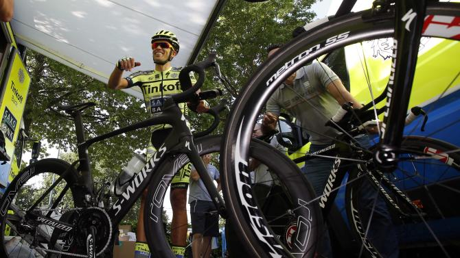 Tinkoff-Saxo rider Alberto Contador of Spain is seen before a training session in Utrecht