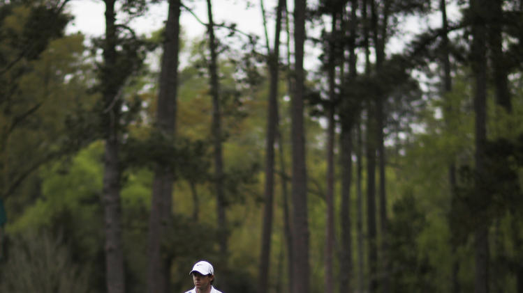 Rory McIlroy, of Northern Ireland, walks up the fourth fairway during a practice round for the Masters golf tournament Monday, April 8, 2013, in Augusta, Ga. (AP Photo/David Goldman)