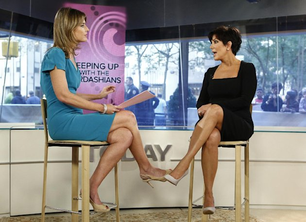 This image released by NBC shows host Savannah Guthrie, left, listening to TV personality Kris Jenner from &quot;Keeping Up with the Kardashians,&quot; during an interview on the &quot;Today&quot; show in New York on Tuesday, Sept. 11, 2012. (AP Photo/NBC, Peter Kramer)