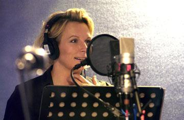 Jennifer Saunders records the voice of the Fairy Godmother in Dreamworks' Shrek 2