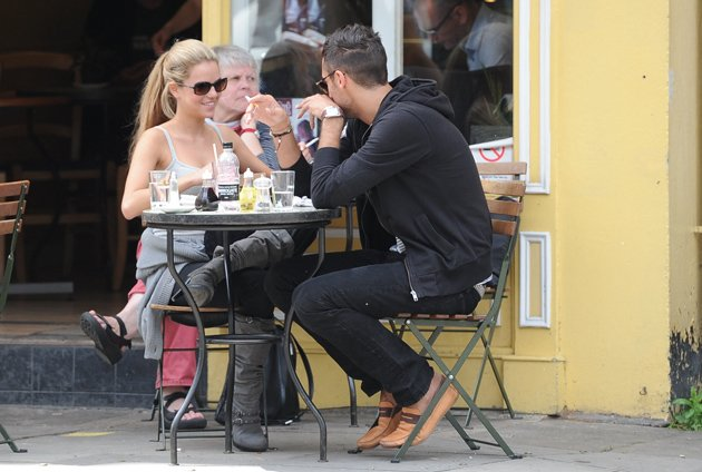 Hugo Taylor and Natalie Joel looked loved up having lunch