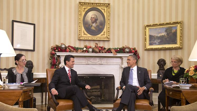 President Barack Obama and Mexico's President-elect Enrique Pena Nieto smile before making remarks prior to their meeting in the Oval Office of the White House in Washington, Tuesday, Nov. 27, 2012. (AP Photo/Jacquelyn Martin)