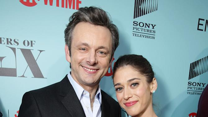 "Michael Sheen and Lizzy Caplan seen at the Showtime ""Masters of SEX"" ATAS FYC Panel on Tuesday, May 5, 2015, in Los Angeles. (Photo by Eric Charbonneau/Invision for Showtime/AP Images)"