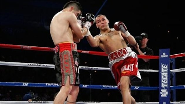 Mike Alvarado and Brandon Rios in action in their rematch (Josh Hedges, Getty)