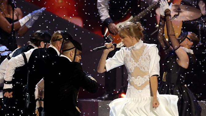 Taylor Swift performs on stage during the BRIT Awards 2013 at the o2 Arena in London on Wednesday, Feb. 20, 2013. (Photo by Joel Ryan/Invision/AP)