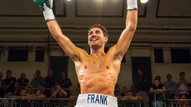 Frank Buglioni celebrates after winning a fight at London's York Hall (photo: Neill Hamersley)