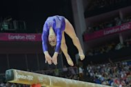 US gymnast Jordyn Wieber performs on the beam during the women's qualification of the artistic gymnastics event of the London Olympic Games on July 29, 2012