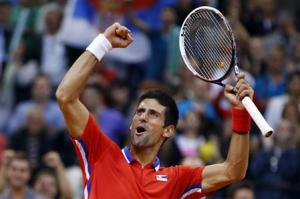 Serbia's Djokovic celebrates his victory over Canada's Pospisil after their Davis Cup semi-final tennis match in Belgrade