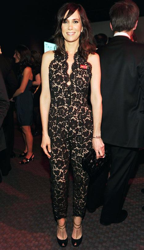 Kristen Wiig Steps Out in Plunging Lace Jumpsuit