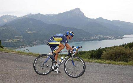 Team Saxo-Tinkoff rider Kreuziger of the Czech Republic cycles during the 32km individual time-trial seventeenth stage of the centenary Tour de France cycling race from Embrun to Chorges
