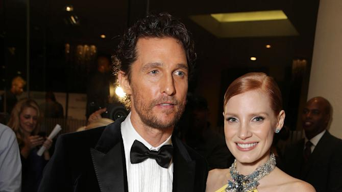 Matthew McConaughey and Jessica Chastain seen at the 28th Annual American Cinematheque Awards Honoring Matthew McConaughey held at The Beverly Hilton on Tuesday, Oct 21, 2014, in Beverly Hills. (Photo by Eric Charbonneau/Invision for American Cinematheque/AP Images)