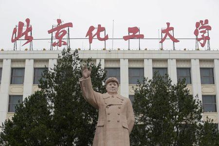 A statue of late Chairman Mao Zedong is pictured at Beijing University of Chemical Technology in Beijing