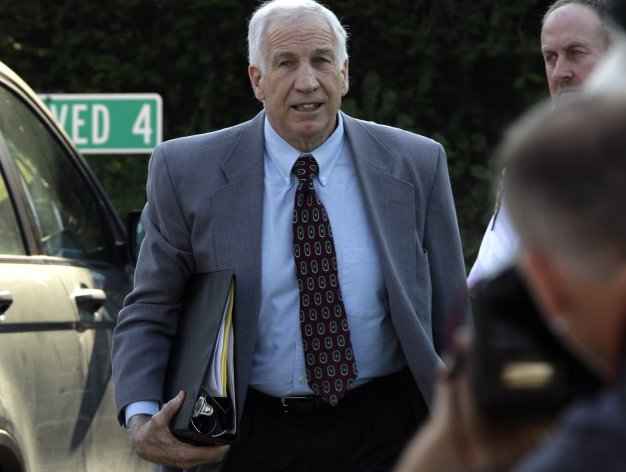 Former Penn State University assistant football coach Jerry Sandusky arrives at the Centre County Courthouse in Bellefonte, Pa., Thursday, June 21, 2012. Sandusky is charged with 51 counts of child sexual abuse involving 10 boys over a period of 15 years. (AP Photo/Gene J. Puskar)