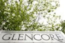 The logo of Glencore is seen in front of the company