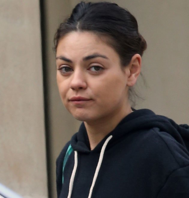 Mila Kunis stepped out looking tired without make-up yesterday ...