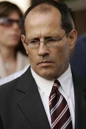 FILE - In this Monday, July 16, 2007 file photo, attorney Ray Boucher listens to several plantiffs, alleged victims of clergy abuse, during a news conference outside Los Angeles Superior Court. Boucher, a coordinating attorney for the plaintiffs, said the records kept on accused priests by the religious orders are critical to understanding the scope of the sex abuse scandal and the internal dynamics that contributed to it. (AP Photo/Damian Dovarganes,File)