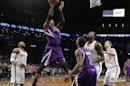 Sacramento Kings&#039; Thomas Robinson shoots over Brooklyn Nets in NBA game in New York