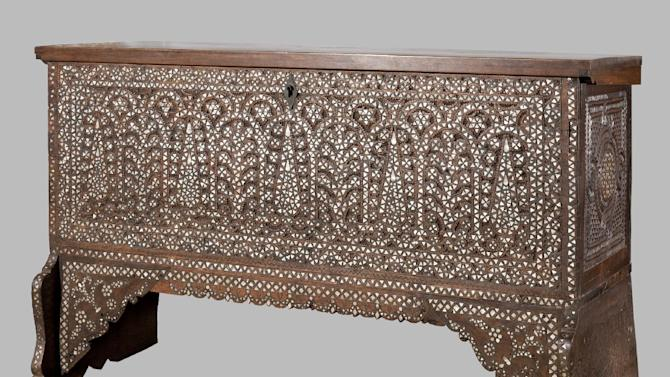 "In this 2001 photo provided by the Museum of Arts and Design, an eighteenth century Syrian chest made from wood with mother-of-pearl, and metal fill is shown. The item is among the artifacts from the estate of the of the late philanthropist and art collector Doris Duke that are featured in an exhibit entitled ""Doris Duke's Shangri La: Architecture, Landscape and Islamic Art,"" at the Museum of Arts and Design in New York. The exhibit runs through Jan. 6, 2013. (AP Photo/Museum of Arts and Design, Doris Duke Foundation for Islamic Art, David Franzen)"