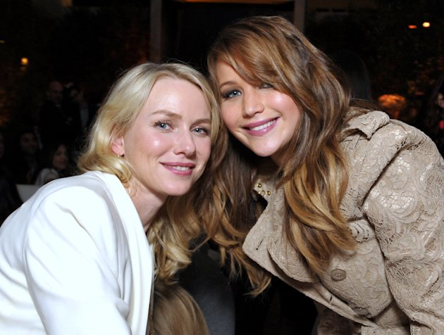 IMAGE DISTRIBUTED FOR THE HOLLYWOOD REPORTER - Naomi Watts, left, and Jennifer Lawrence attend The Hollywood Reporter Nominees' Night at Spago on Monday, Feb. 4, 2013, in Beverly Hills, Calif. (Photo