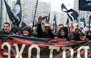"""Russian nationalists take part in the so-called """"Russian…"""