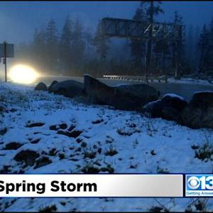Late Winter Storm Bringing Snow To The Sierra, Lake Tahoe
