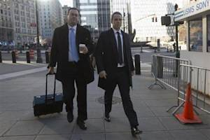 Former SAC Capital portfolio manager Steinberg arrives with his lawyer Berke at the Manhattan Federal Courthouse in New York