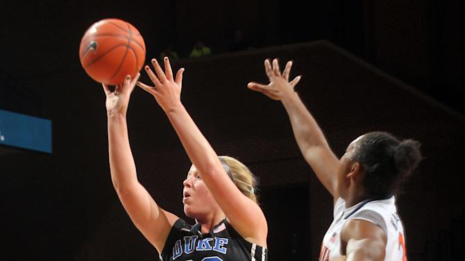 Duke guard Tricia Liston (32) shoots next to Virginia guard Faith Randolph (20) during an NCAA college basketball game Friday, Feb. 8, 2013, in Charlottesville, Va. (AP Photo/Andrew Shurtleff)