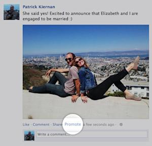 This undated image provided by Facebook shows the  new feature Facebook announced Wednesday, Oct. 3, 2012, that lets users pay to promote their posts to friends, just as advertisers do. Facebook has been testing the service in New Zealand, where it tries out a lot of new features, and has gradually introduced it in more than 20 other countries. Facebook says promoting a post will bump it higher in your friends' news feeds. (AP Photo/Facebook)
