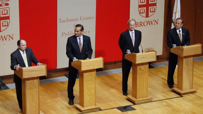 Candidates for Rhode Island Governor from left, Moderate Ken Block, Democrat Frank Caprio, Independent Lincoln Chafee and Republican John Robitaille, make their opening remarks during a debate Thursday, Oct. 14, 2010 in Providence, R.I. (AP Photo/Stew Milne)