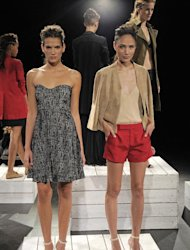 In this photo provided by Holmes & Yang, the Holmes & Yang Spring 2013 collection is modeled during Fashion Week in New York, Tuesday, Sept. 11, 2012. (AP Photo/Holmes & Yang, Dan Ashby)