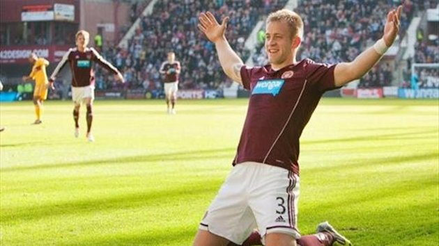 Danny Grainger's long-range strike earned Hearts their first SPL victory at Tynecastle since the opening day of the season in a 1-0 victory over Motherwell.