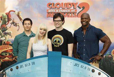 "Voice talents from the new Sony Pictures Animation film ""Cloudy with a Chance of Meatballs 2"" pose during a photo call in Beverly Hills, California"