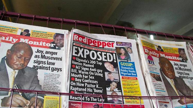 A newspaper stand in Kampala displays Uganda's local dailies on February 25, 2014, a day after the president signed a tough new anti-gay law